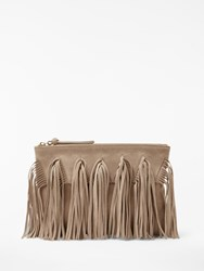 And Or Isabella Suede Fringe Clutch Bag Nude