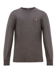 Polo Ralph Lauren Logo Embroidered Long Sleeved Cotton T Shirt Grey