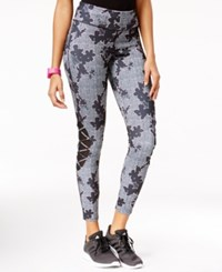 Jessica Simpson The Warm Up Juniors' Printed Crisscross Leggings Floral Herringbone