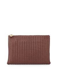 Neiman Marcus Wooster Woven Oversized Clutch Bag Maple