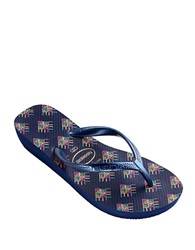 Havaianas High Light Ii Rubber Thong Sandals Navy Blue