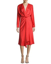 Victoria Beckham Long Sleeve Draped Midi Dress Pink