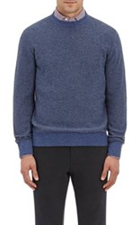 Luciano Barbera Men's Melange Cashmere Sweater Light Blue