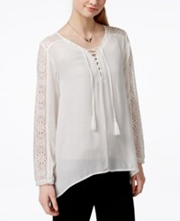 American Rag Juniors' Crochet Trim Lace Up High Low Tunic Top Only At Macy's Egret