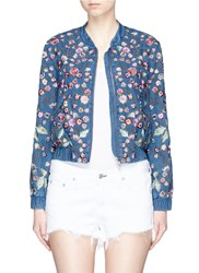 Needle And Thread 'Wild Flower Embroidered Denim Bomber Jacket Blue Multi Colour