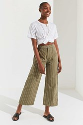 Urban Outfitters Uo Striped Twill Wide Leg Trouser Olive