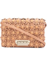 Zac Posen Flower Embellished Crossbody Bag Brown