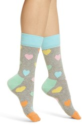 Happy Socks Heart Crew Grey