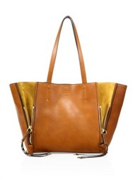 Chloe Leather And Suede Zip Trim Tote Motty Grey Sepia Red Caramel Black