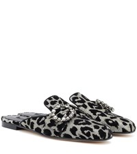Dolce And Gabbana Jackie Embellished Slippers Grey