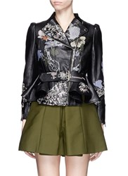 Alexander Mcqueen Cross Stitch Flower Peplum Leather Jacket Black Multi Colour