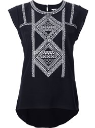 Veronica Beard Embroidered Sleeveless Top Black