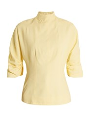 Emilia Wickstead Cut Out Back High Neck Top Light Yellow