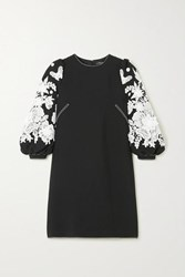 Andrew Gn Guipure Lace Trimmed Cady Mini Dress Black