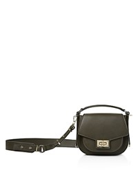 The Kooples Emily Mini Leather Saddle Bag Khaki