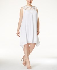 Trixxi Plus Size Crochet Trim Shift Dress Off White