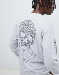 Diamond Supply Co. Fasten Long Sleeve T Shirt With Skull Back Print In Grey