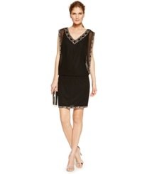 J Kara Chiffon Bead Trim Cocktail Dress Black