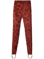 Y Project Synthetic Fur Stirrup Trousers Cotton Viscose Modal Red