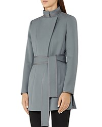 Reiss Lucy Belted Short Coat Moss