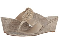 Adrianna Papell Casey Platinum Jimmy Net Women's Wedge Shoes Gold