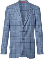 Isaia Checked Blazer Blue