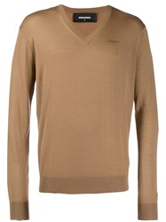 Dsquared2 V Neck Jumper Brown