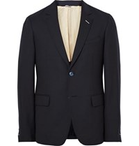 Gant Rugger Blue Slim Fit Wool Hopsack Suit Jacket Navy