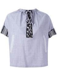 J.W.Anderson Striped Laced Top Grey