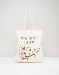 Asos Tote Bag With Pizza Print Cream