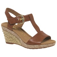 Gabor Karen Wide Wedge Heeled Sandals Tan