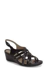 Women's Ecco 'Touch 45' Wedge Sandal Black Leather