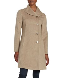 Ellen Tracy Wool Blend Walking Coat Heather Latte