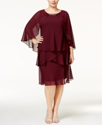 Si Fashions Sl Plus Size Tiered Dress And Embellished Cape Garnet