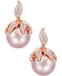 Macy's Pink Windsor Pearl 13Mm And Diamond Accent Earrings In 14K Rose Gold