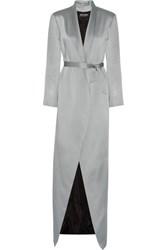 Balmain Belted Asymmetric Hammered Satin Coat Gray