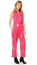 3.1 Phillip Lim Sleeveless Ginkgo Embellished Jumpsuit Bright Cerise
