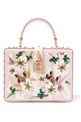 Dolce And Gabbana Lilium Embellished Floral Print Textured Leather Tote Pink