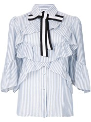 Marco Bologna Striped Frill Trim Shirt With Bow Blue