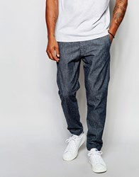 Abercrombie And Fitch Woven Cuffed Chino Jogger In Chambray Indigo Chambray Blue