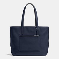 Coach Metropolitan Soft Tote In Pebble Leather Black Antique Nickel Midnight Navy Black