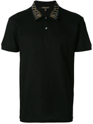 Roberto Cavalli Embellished Collar Polo Shirt Cotton Bos Taurus Black