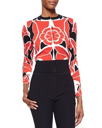 Alexander Mcqueen Floral Jacquard Cropped Cardigan Flame White Black