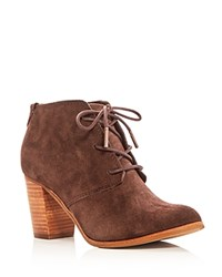 Toms Lunata Lace Up High Heel Booties Chocolate Brown