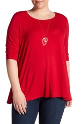 Chelsea And Theodore 3 4 Sleeve Knit Swing Shirt Plus Size Red