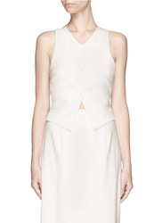 Rosie Assoulin Made To Order 'Tuxedo' Cross Back Silk Twill Vest White