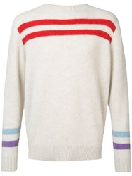 The Elder Statesman Cashmere Striped Jumper White