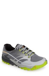 Men's Merrell 'All Out Charge' Trail Running Shoe Grey Lime Green