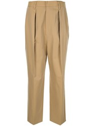 Juun.J Pleat Overlap Trousers Brown