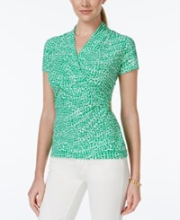 Charter Club Short Sleeve Crossover Wrap Top Tile Print